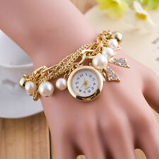 Bracelet Women Analog Wrist Watch Stylish Pearl Pendant Gold Bowknot