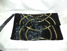 M&S Envelope Clutch Bag /Wrist Strap All EMBELLISHED Saints Gold & Black RRP £49
