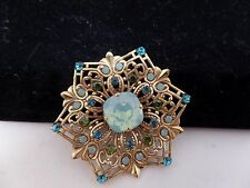 CATHERINE POPESCO FRANCE Opaline Crystal Filigree Brooch! Gorgeous!