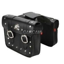 Black Motorcycle PU Saddlebags Pouch Tool Bags For Honda Shadow Cruisers