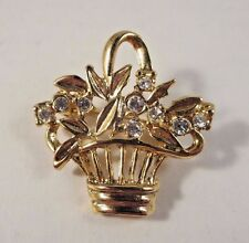 Vintage Open Work Basket of Leaves/Flowers? Clear Rhinestones Brooch Pin Gold Tn