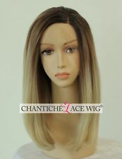 Ombre Short Bob Lace Front Wigs Dark Root&Blonde Synthetic Hair Full Wig Heat OK