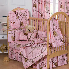 REALTREE AP PINK CAMO CRIB SET, CAMOUFLAGE BABY BEDDING 6 PIECES!
