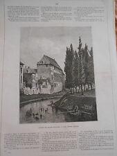 Gravure 1872 - L'hotel de Gérard le Diable   à Gand