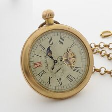 OPEN FACE VINTAGE COPPER MOON PHASE TOURBILLION WIND UP MEN POCKET WATCH RETRO