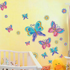 Rainbow Color Butterfly & Flowers Removable Wall Sticker Home Kids room Nursery