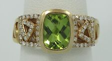 Very nice 18K yellow Gold Peridot & 1/2ctw Diamond Band Ring Sz7 E1178