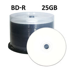 50 4X White Inkjet Printable Blu-Ray BD-R Blank Disc 25GB in Cake Box