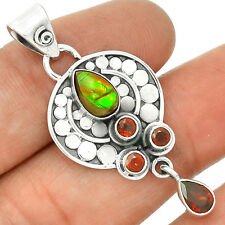 Genuine Canadian Ammolite 925 Serling Silver Pendant Jewelry PP2485