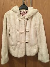 Juicy Couture Faux Fur Coat Jacket, Size Uk 6, White, Waist Length
