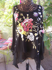 NWT~$174~Gorgeous Embroidered Cold Shoulder Tunic~M/L~Vintage Collection Style