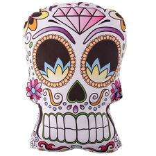 Floral Mexicain SUGAR SKULL shaped Candy Squelette blanc Gothique coussin 31cm
