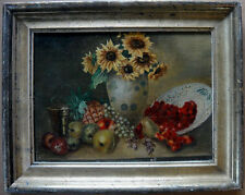Antique painting.  Fruits and sunflowers. German late 1800s. Nel Grönland?