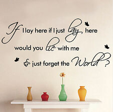 "Snow Patrol ""Chasing Cars"" Song Lyrics/quote/VINYL WALL DECAL ""If I Lay Here."" W"