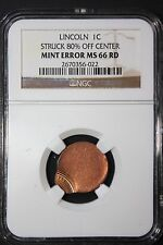 LINCOLN CENT 80% OFF CENTER STRUCK PENNY NGC VERY HIGH MS66RD! BARELY STRUCK