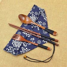 Japanese Vintage Spoon Fork Tableware Wooden Chopsticks 3pcs Set New Gift
