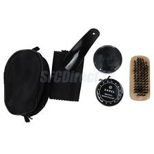 5 In 1 Neutral Shoe Shine Polish Cleaning Brushes Set Kit In Travel Case Bag