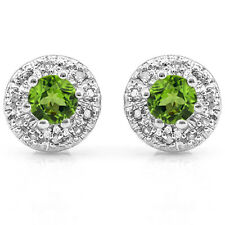 0.68 CTW PERIDOT & GENUINE DIAMOND PLATINUM OVER 925 STERLING SILVER EARRINGS