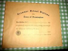 VINTAGE  DIPLOMA TOWN OF FRAMINGHAM MASSACHUSETTS GRAMMAR SCHOOL  1912
