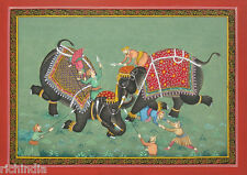 Royal Elephant Fight Miniature Painting Handmade Art Traditional Antique _AR298