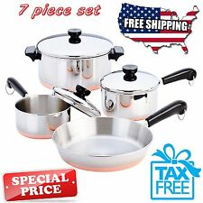 Revere Ware Cookware 7 PC Set Copper Bottom Stainless Steel Pot Pan Lids Cooking