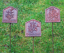 Collection 3 Cast Iron Herb Signs Plaques On Stakes Rosemary Tarragon & Fennel