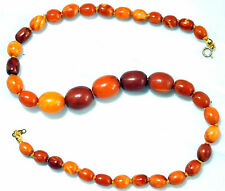 Antique Natural Butterscotch Amber Necklace With 14K Solid Gold Clasp