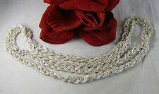 "Sterling Silver 41"" LONG Braided 56g Necklace 56g  CAT RESCUE"