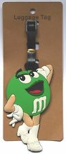 2.5X5in M&M green lady girl plain chocolate candy airplane Travel LUGGAGE TAG