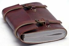 QualityArt Handmade Leather Journal Diary Notebook Plain Buckle 6x5 inches