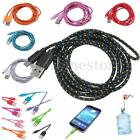 1/2/3m Strong Fabric Braided Micro USB Data Sync Charger Cable Lead for Phone