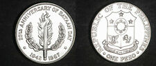 1967 Philippines Large Silver Proof-Like 1 peso-Bataan Battle/Sword/Flames