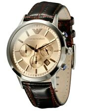 EMPORIO ARMANI AR2433 Mens Classic Brown Leather Band Chronograph Watch MSRP$295