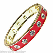 Gold Red Bangle Cuff Bracelet Crystal Enamel Oval Hinge Design