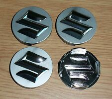 "NEW Suzuki Aerio, Swift, SX4 Silver/Chrome Wheel Center Cap Set 2+1/8"" Free Ship"