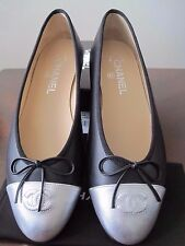 NIB CHANEL Black Leather Silver Toe  Ballerinas Flat Shoes SZ 9 EUR 40 Italy