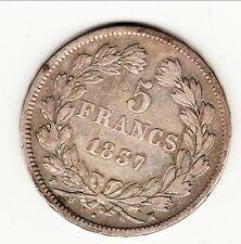 LOUIS PHILIPPE 5 FRANCS 1837 MA    TTB RARE cote 90 euro