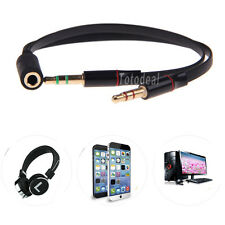 Universal 3.5mm Female to 2 Male Headphone With Mic Audio Y Splitter Cable CHH