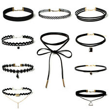 New 10 Pcs  Women Choker Stretch Velvet Gothic Tattoo Lace Necklaces Set Gift