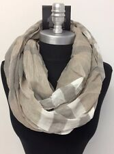 Men's Striped Soft Silky Infinity Circle Loop Scarf Wrap Brown/White All Seasons