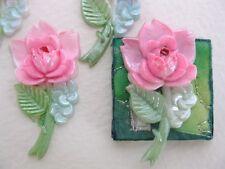 Vintage Flower Cabochon Pink Roses Big Stem Hand Painted Japanese 35mm
