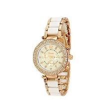 White Rose Gold Geneva Acrylic Band Crystal Women Watch Designer Fashion