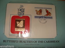 St Lucia FDC w/ 23 kt gold replica Stamp 1985 Butterfly Beauties