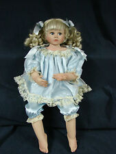 "2004   AEL 20"" doll in blue satin outfit  blonde"