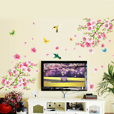 Peach Blossom Butterfly Birds Removable Wall Stickers Decal Art Mural DIY Decor