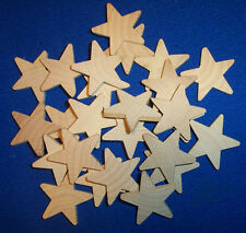 "50 Natural Unfinished 1"" Stars Wooden 1"" Wood Stars 1"" x 1"" x 3/16"" Crafts NEW"