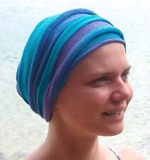 Ocean Blues Tie Dyed CoverAll Head wraps  Turban Wraps Chemo Hair Scarf  Cotton