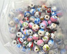 20 x main imprimé assortis mélangés round porcelaine billes de céramique 12mm