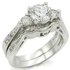 3.80 Ct Edwardian Style CZ Triple Stone Wedding Engagement Ring Set~Size 9