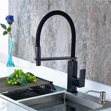 New Pull Down Spring Kitchen Faucet Black Swivel Kitchen Sink Mixer Tap Brass